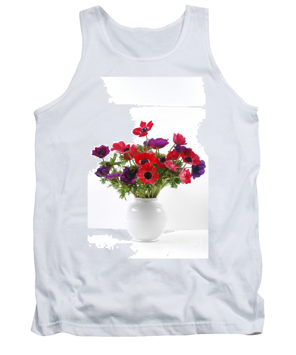 Flower Tank Top featuring the photograph crown Anemone in a white vase by Ilan Amihai
