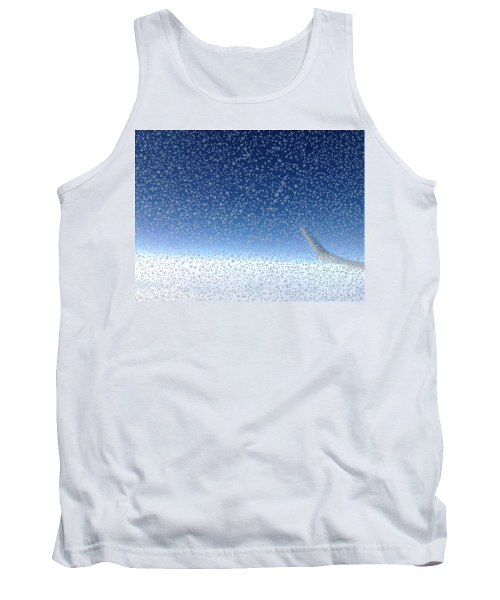 Sky Blue Plane Airplane Crystal Water View Cloud Wing Snow Snowflake Horizon White Tank Top featuring the photograph Crystal Blue by Porter Taxin