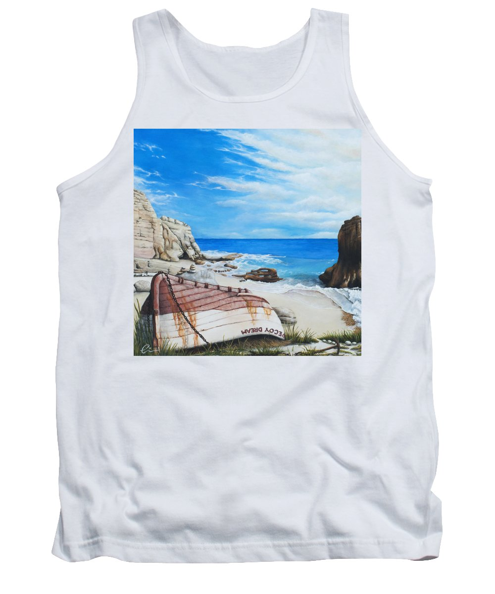 Sint Maarten Tank Top featuring the painting Cupecoy Dream by Cindy D Chinn