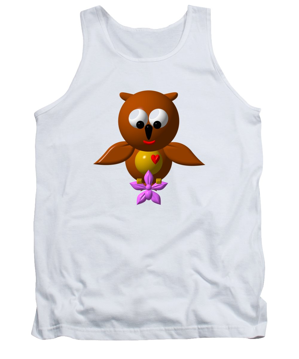 Owls Tank Top featuring the digital art Cute Owl With Orchid by Rose Santuci-Sofranko