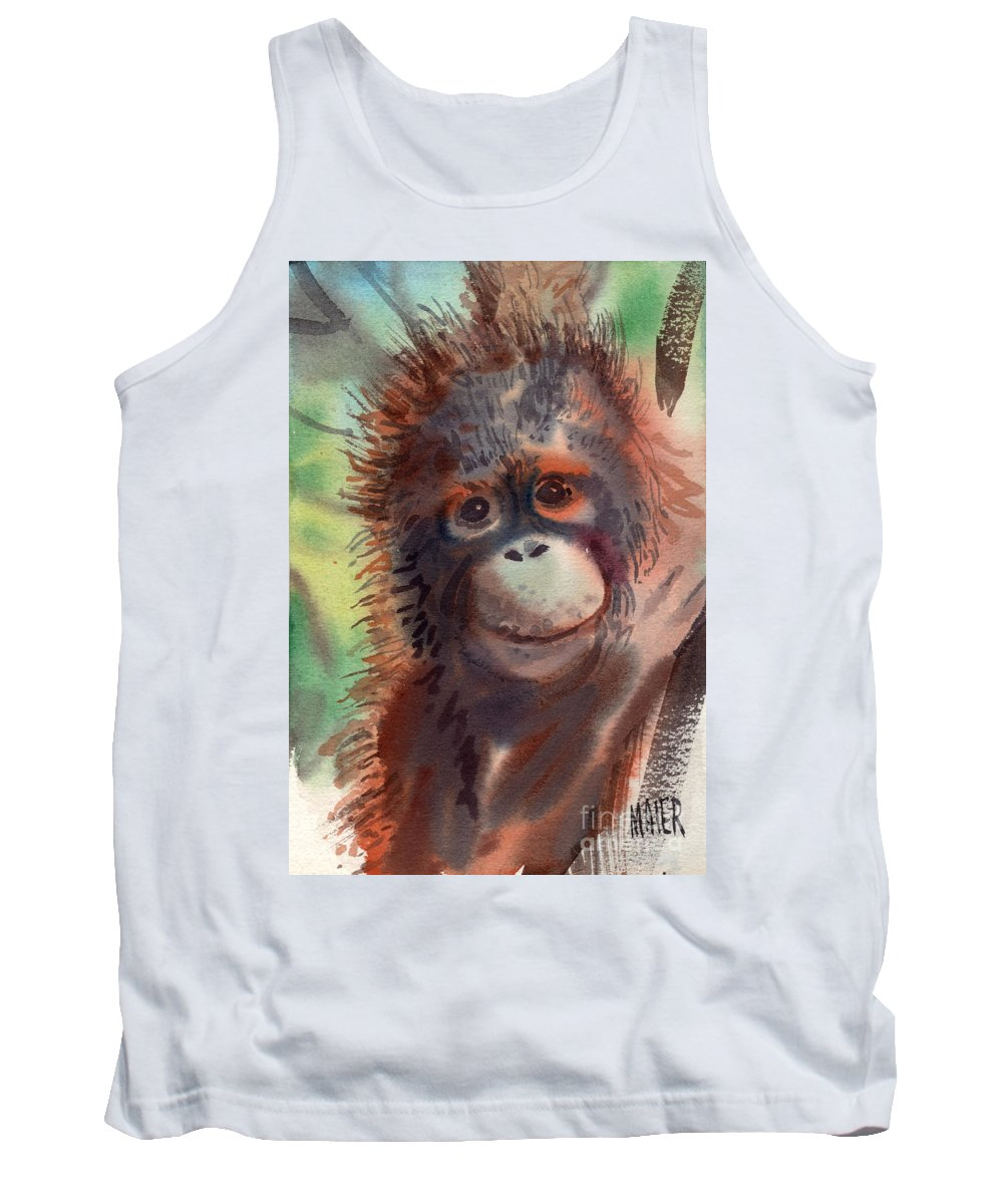 Orangutans Tank Top featuring the painting My Precious by Donald Maier