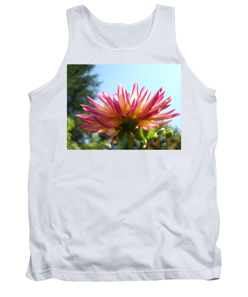 Dahlia Tank Top featuring the photograph Dahlia Floral Garden Art Prints Canvas Summer Blue Sky Baslee Troutman by Baslee Troutman