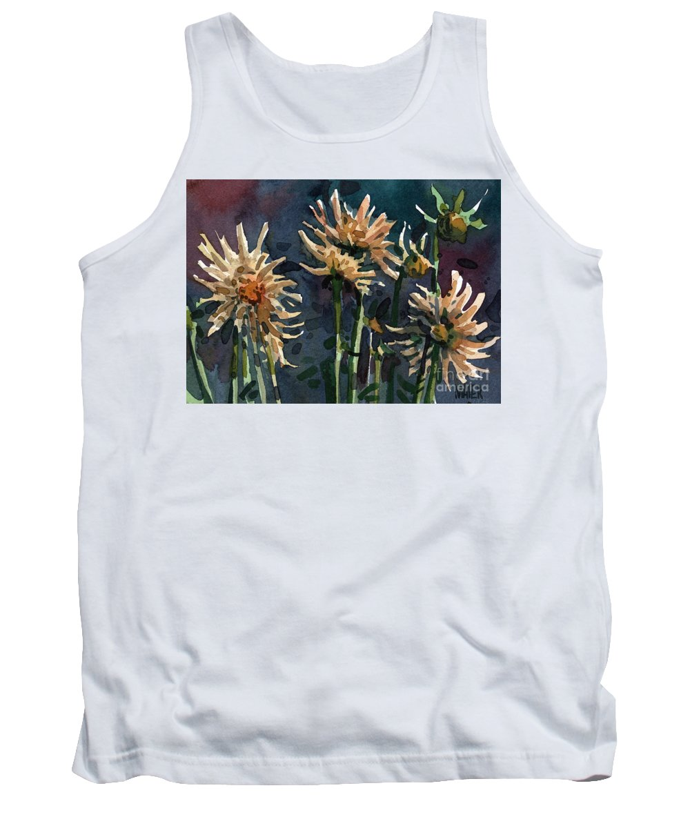 Floral Tank Top featuring the painting Dahlias by Donald Maier