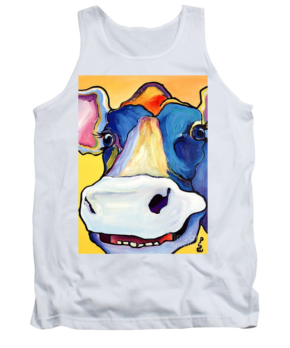 Cow Print Tank Top featuring the painting Dairy Queen I  by Pat Saunders-White