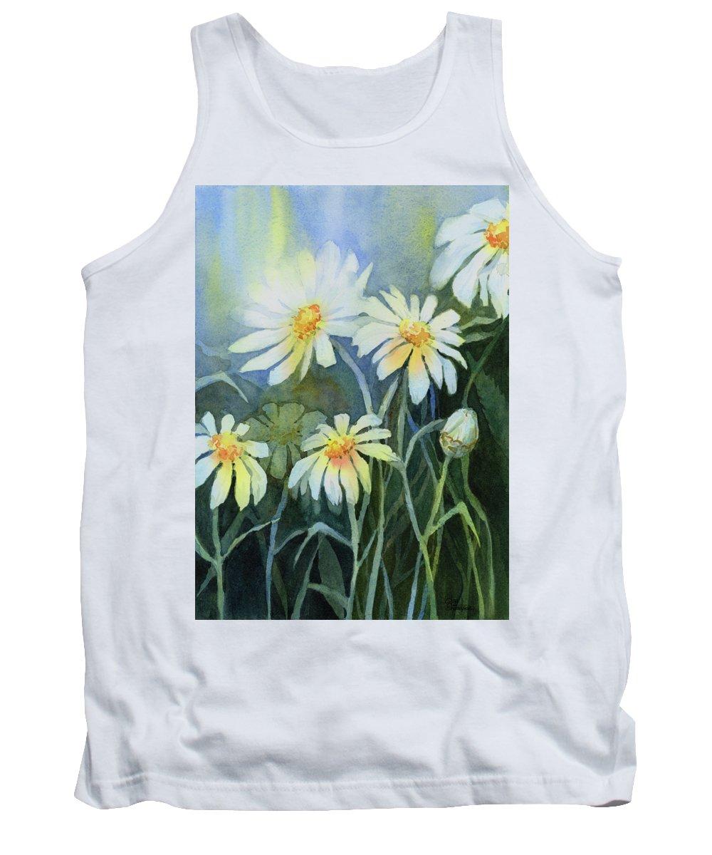 White Flower Tank Tops