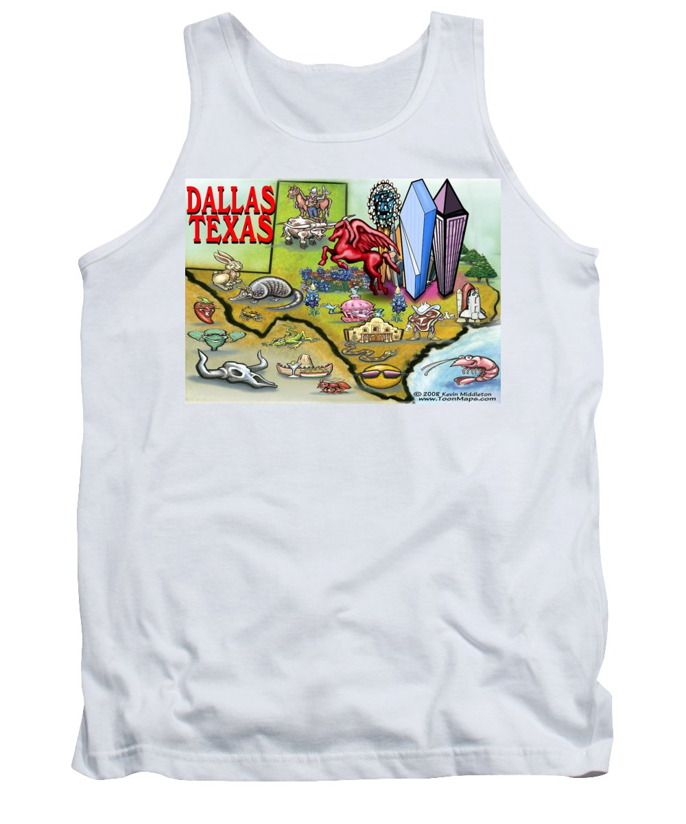 Dallas Tank Top featuring the digital art Dallas Texas Cartoon Map by Kevin Middleton