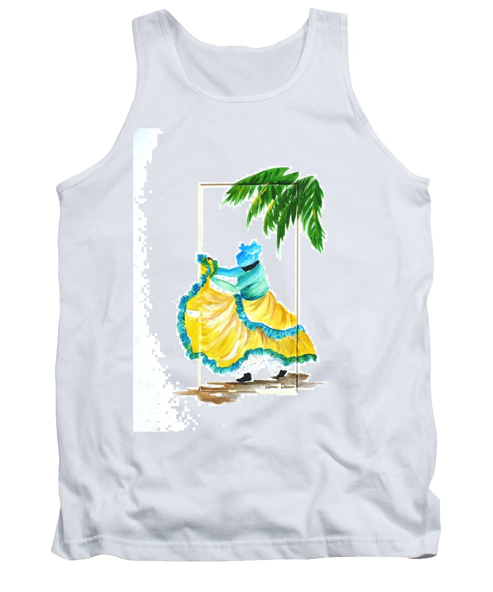 Dance Folk Caribbean Tropical Tank Top featuring the painting Dance De Belaire by Karin Dawn Kelshall- Best