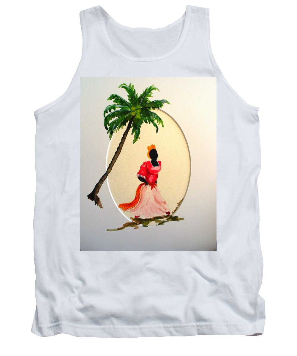 Caribbean Dancer Tank Top featuring the painting Dancer 1 by Karin Dawn Kelshall- Best