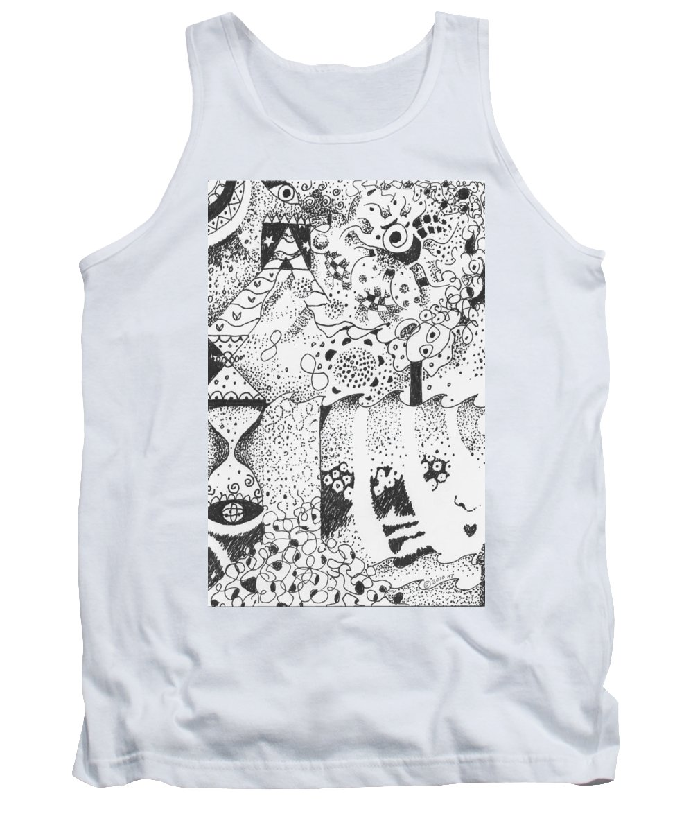 Abstract Tank Top featuring the drawing Dancing In The Dark by Helena Tiainen