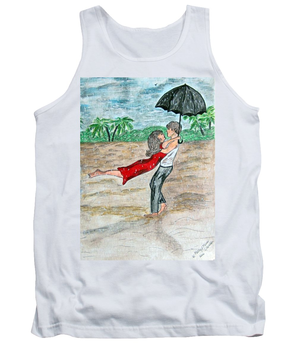 Dancing Tank Top featuring the painting Dancing In The Rain On The Beach by Kathy Marrs Chandler