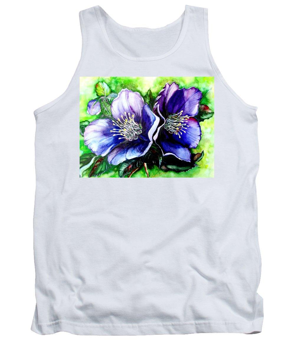Purple Flower Tank Top featuring the painting DARK LADY  Hellebore by Karin Dawn Kelshall- Best