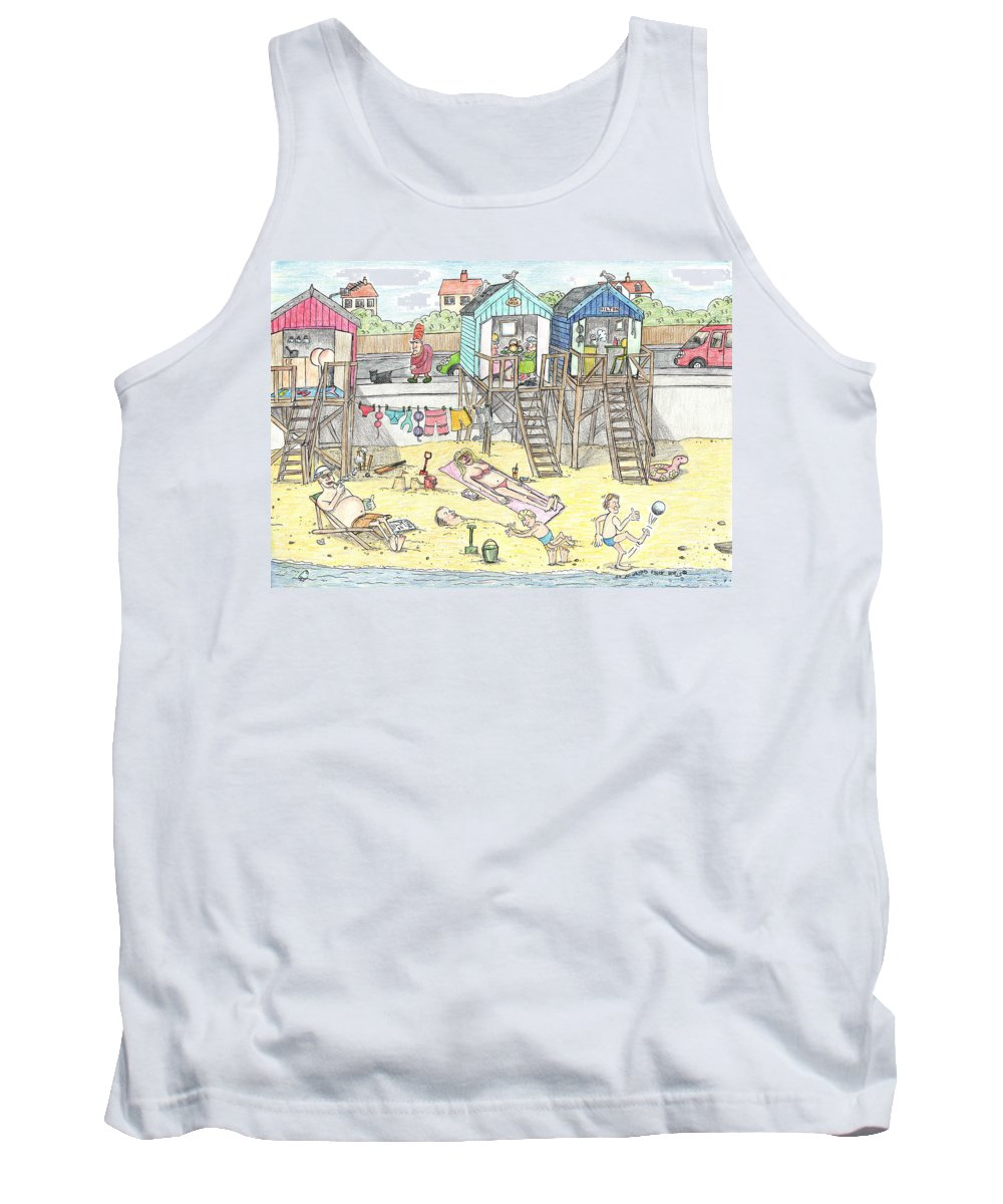 Beach Scene Tank Top featuring the drawing Day At The Felixstowe Hilton. by Steve Royce Griffin