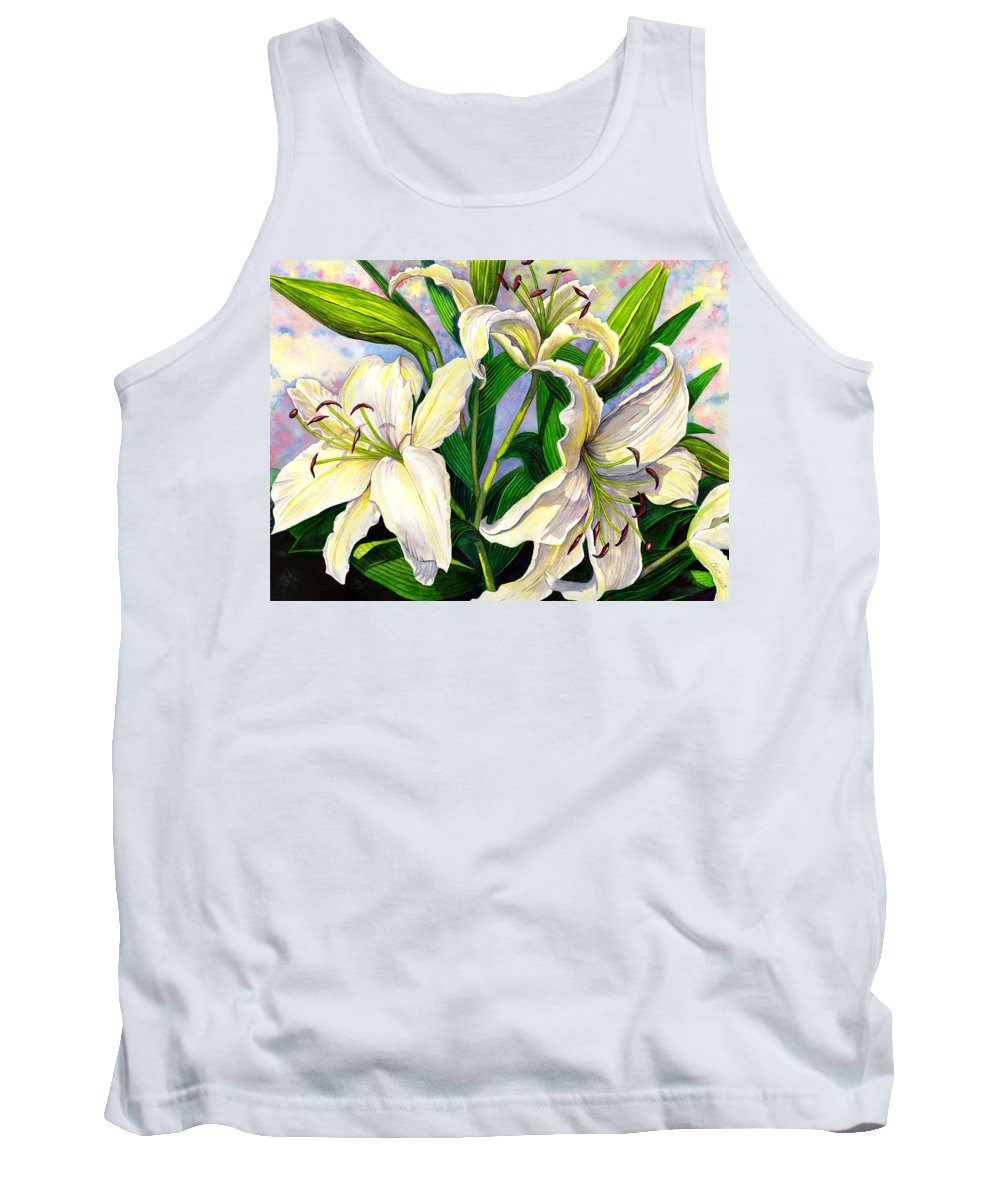 Lily Tank Top featuring the painting Daylilies 2 by Catherine G McElroy