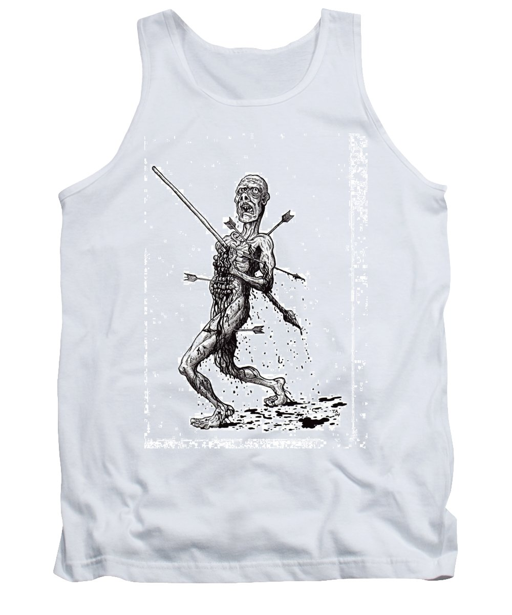 Dark Tank Top featuring the drawing Death March by Tobey Anderson
