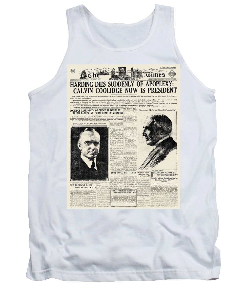 1923 Tank Top featuring the photograph Death Of Harding, 1923 by Granger