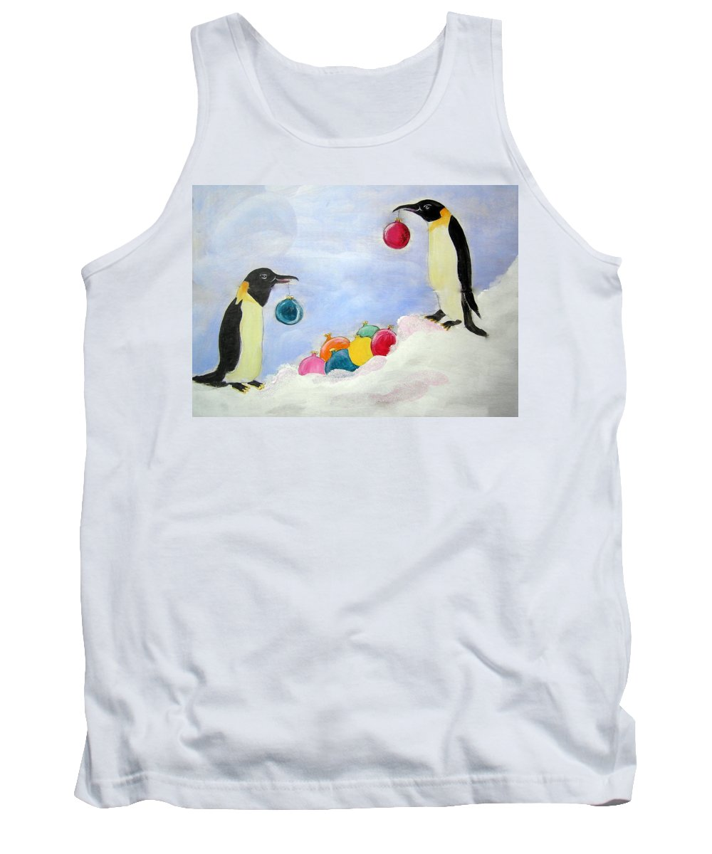 Penguins Tank Top featuring the painting Christmas Penguins by Patricia Piffath