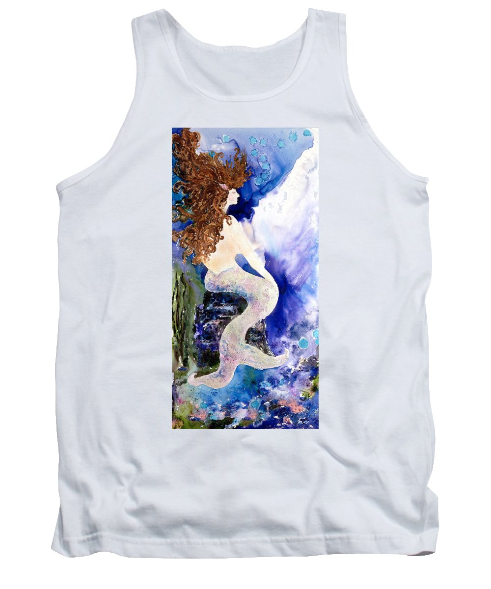 Watermedia Tank Top featuring the painting Deep Sea Tranquility by Barbara Colangelo