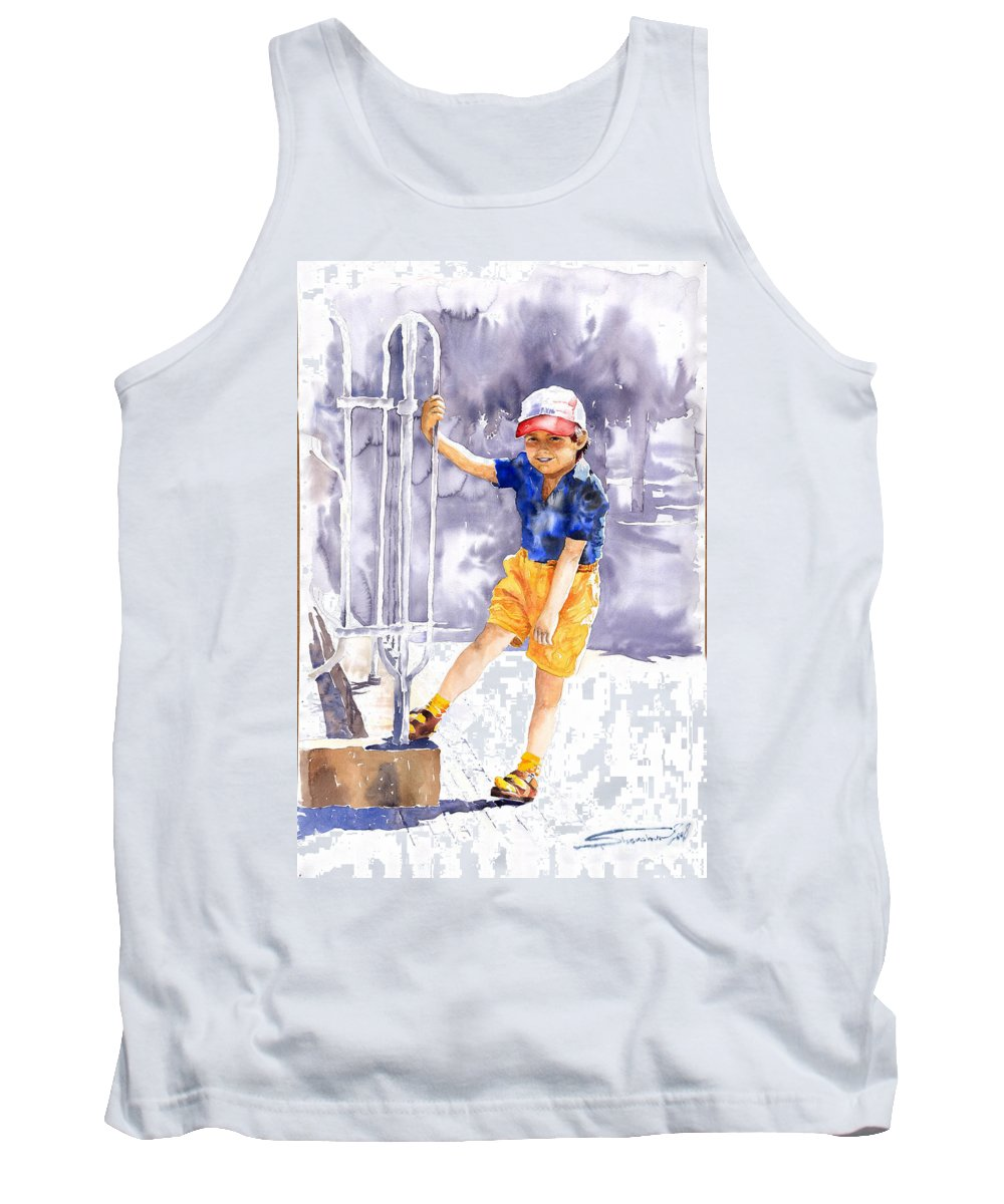 Watercolor Watercolour Figurativ Portret Tank Top featuring the painting Denis 02 by Yuriy Shevchuk
