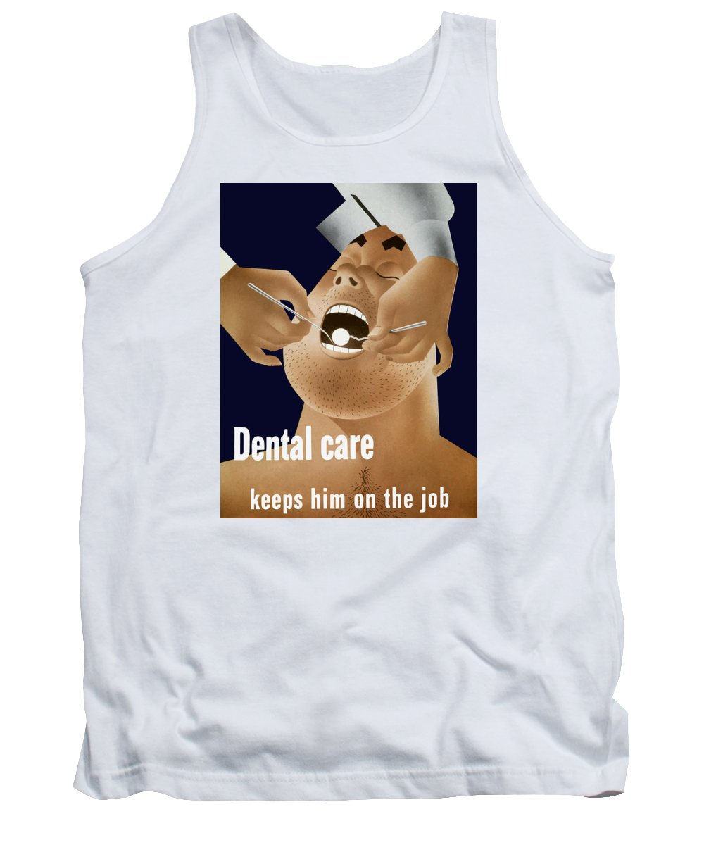 Ww2 Tank Top featuring the painting Dental Care Keeps Him On The Job by War Is Hell Store