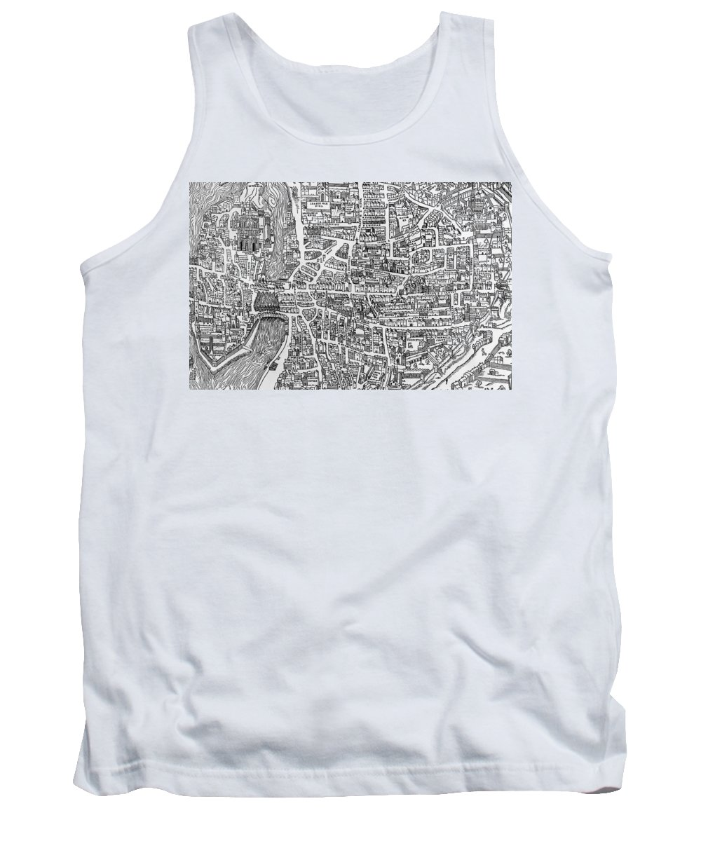Maps Tank Top featuring the photograph Detail From A Map Of Paris In The Reign Of Henri II Showing The Quartier Des Ecoles by French School