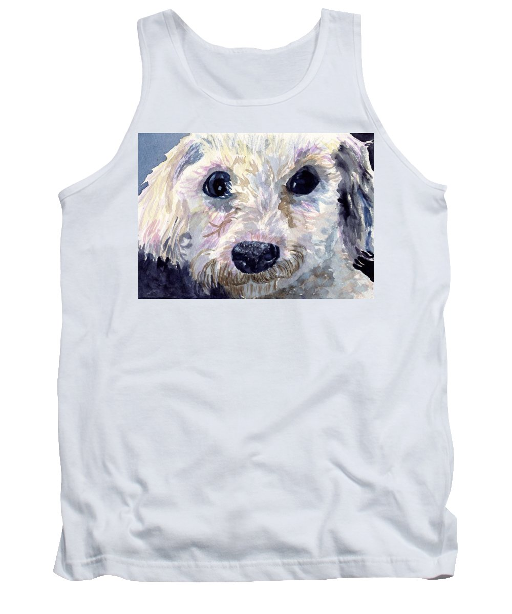 Bichon Frise Tank Top featuring the painting Did You Say Lunch by Sharon E Allen