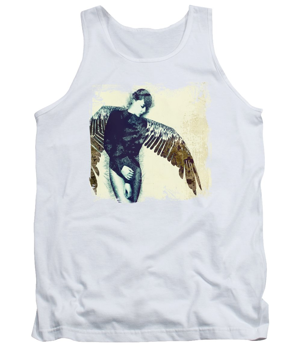 Abstract Angel Dream Fantasy Surreal Wings Freedom Tank Top featuring the digital art Diety by Katherine Smit