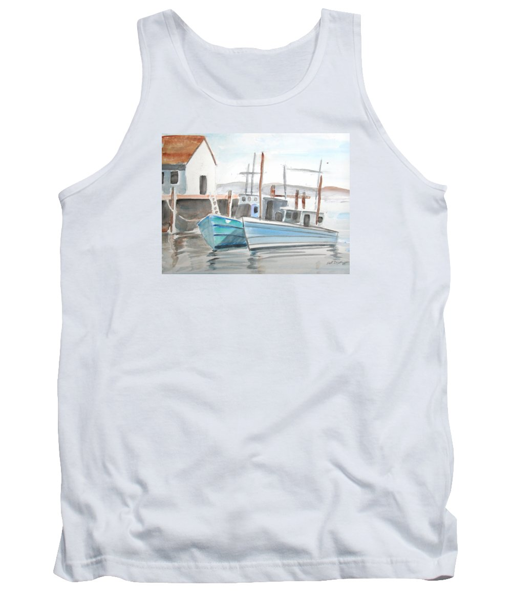 Landscape Tank Top featuring the painting Dockside by Scott Easom