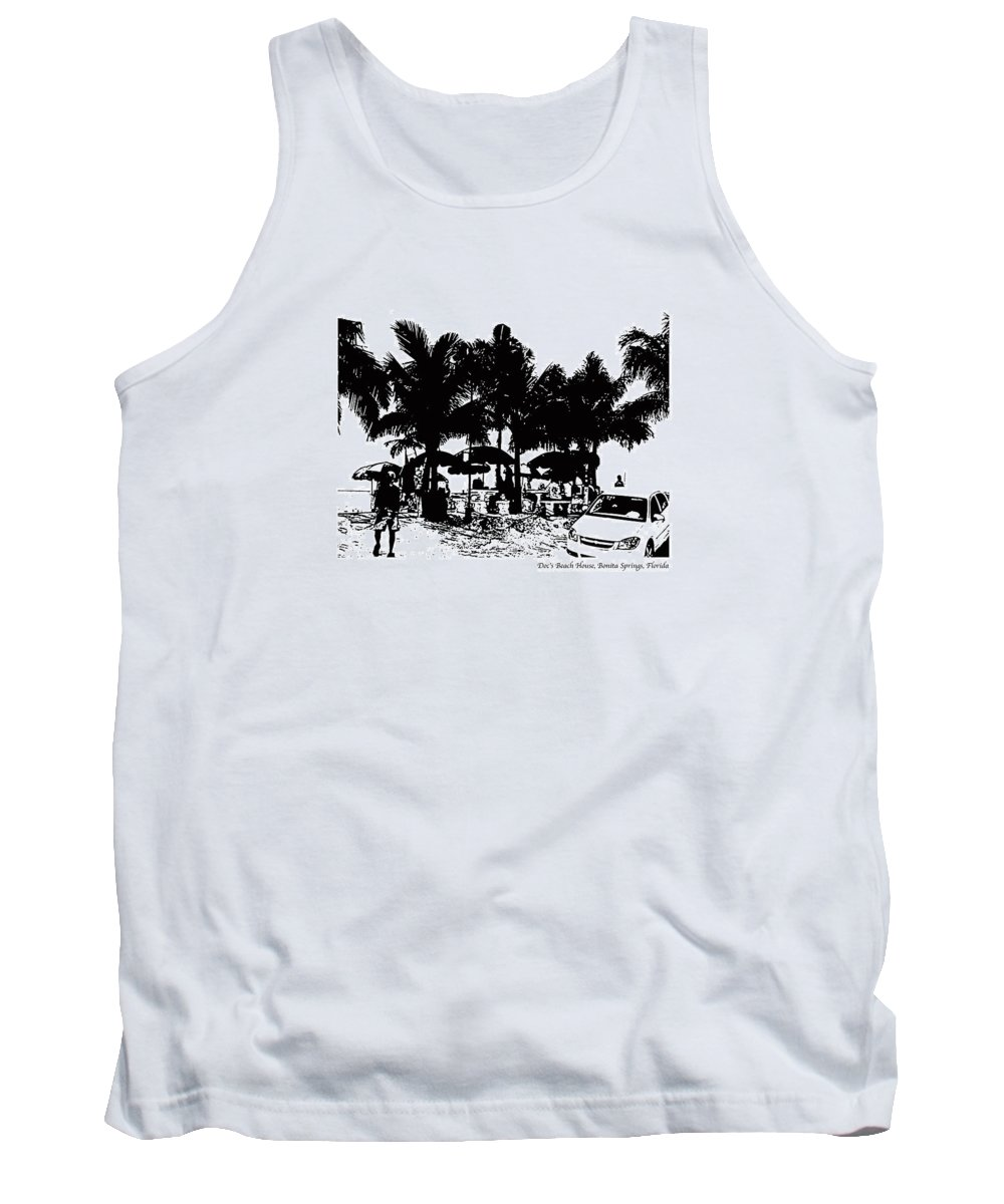 Beach Tank Top featuring the photograph Doc's Beach House by Laurie Paci