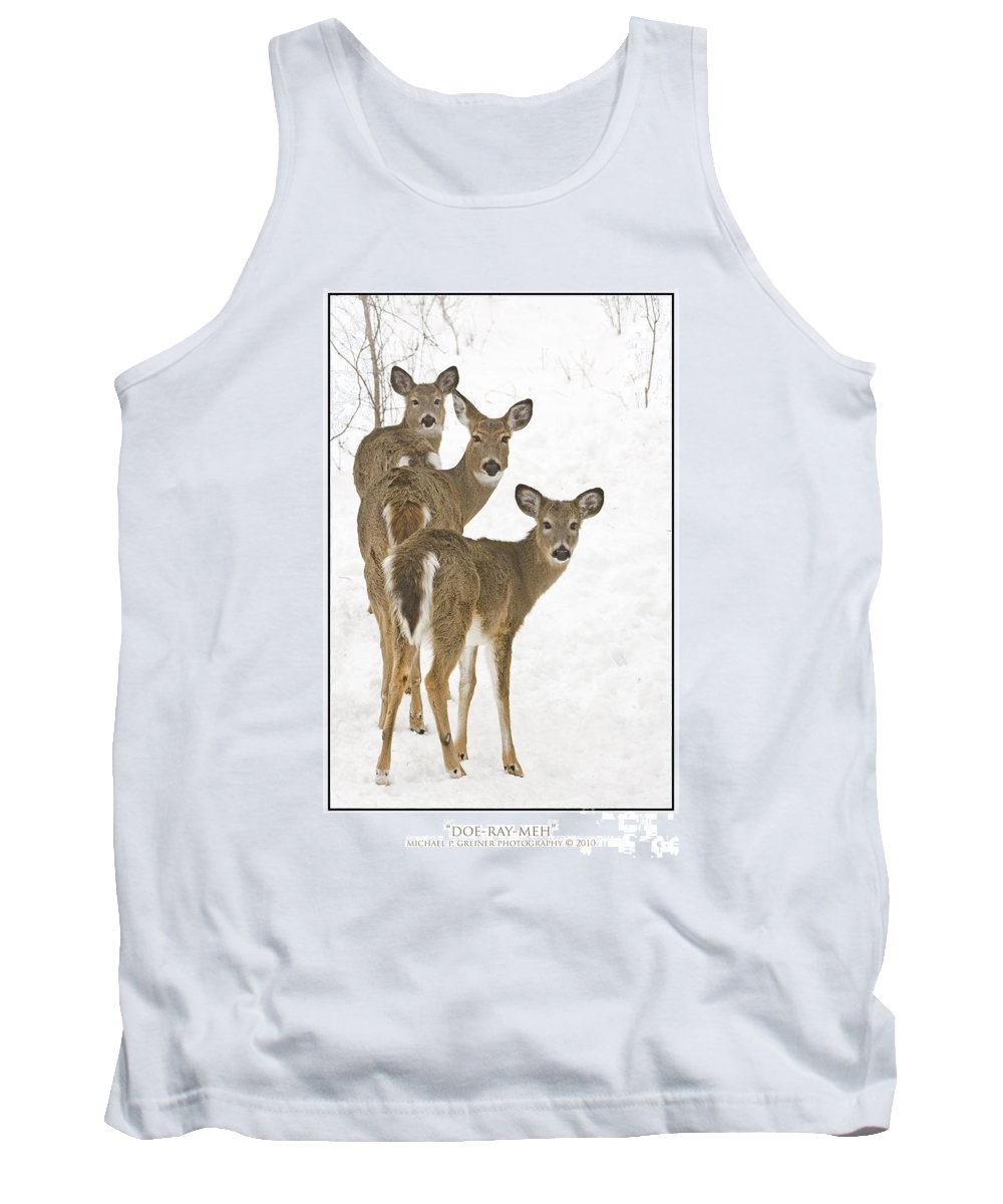 Whitetail Deer Tank Top featuring the photograph Doe-ray-meh by Michael Greiner