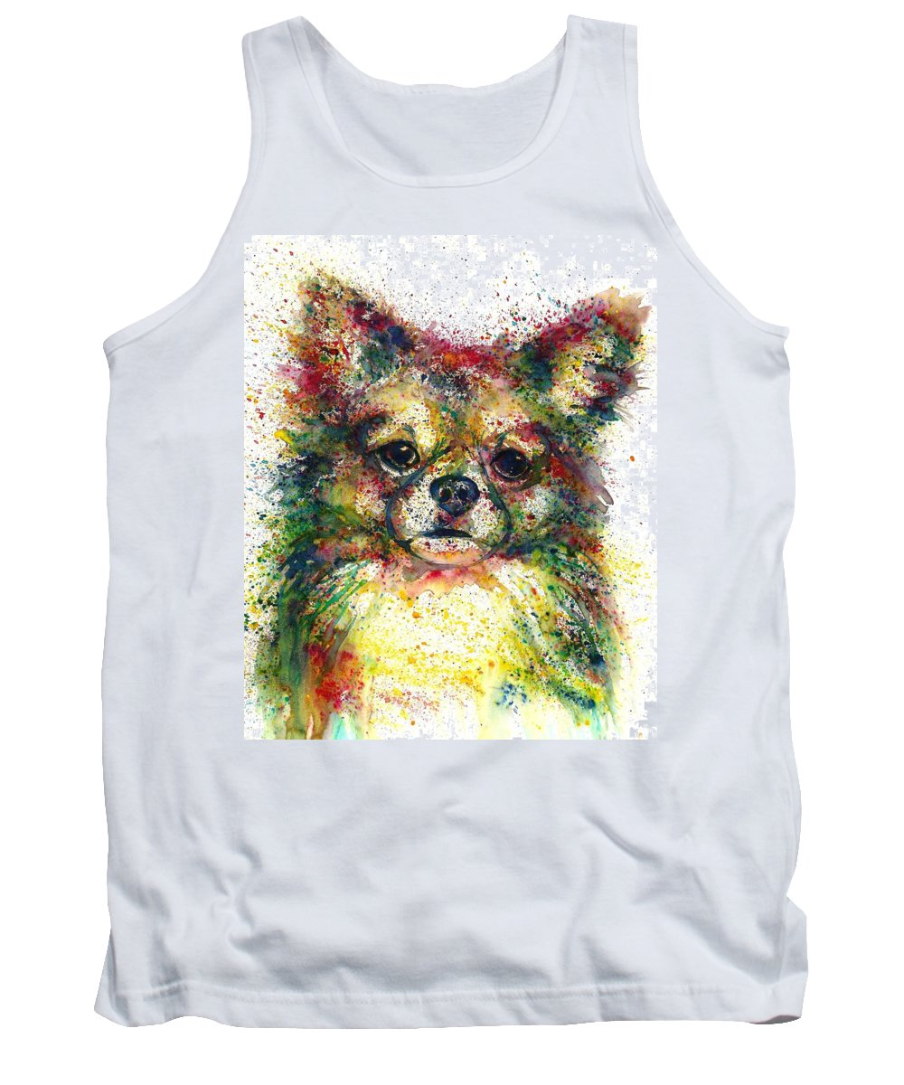 Abstract Dog Tank Top featuring the painting Doggy fantasy by Natalja Picugina