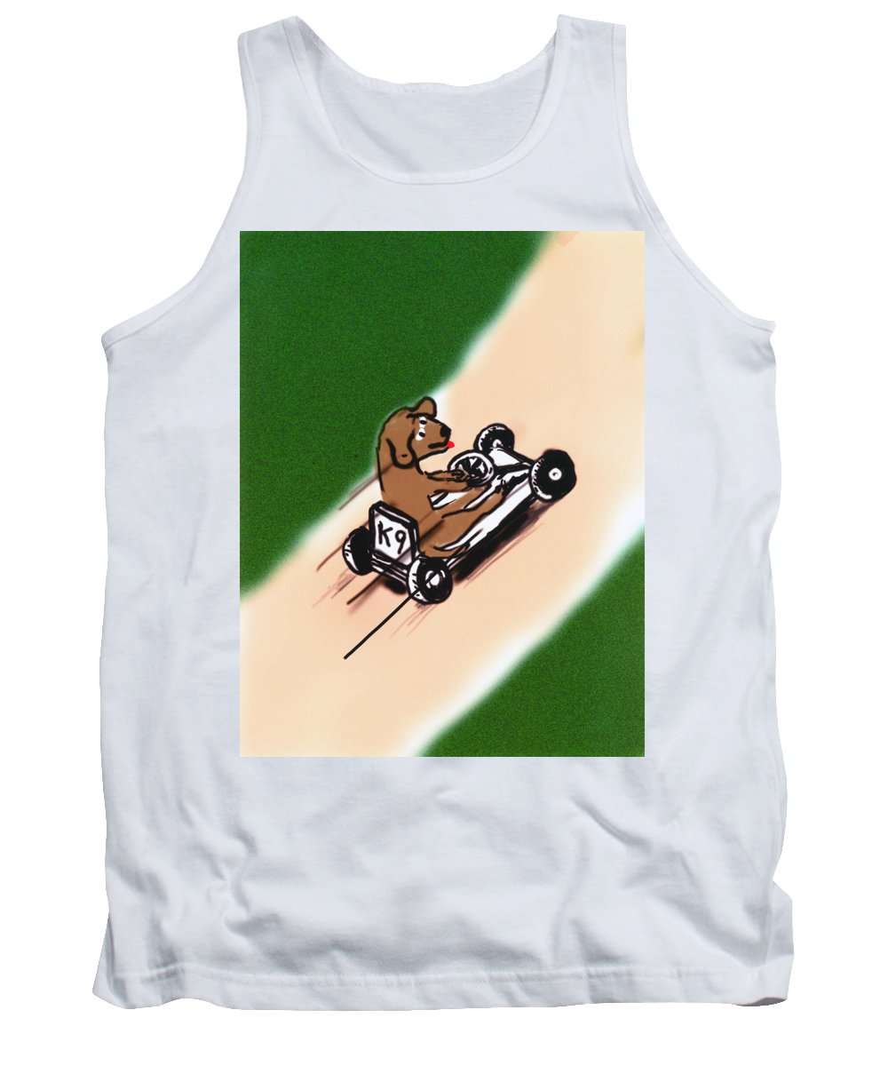 Dogs Tank Top featuring the digital art Dogs Don't Ride Go Carts by Rob Keay