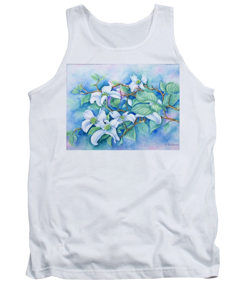 Floral Tank Top featuring the painting Dogwood by Conni Reinecke