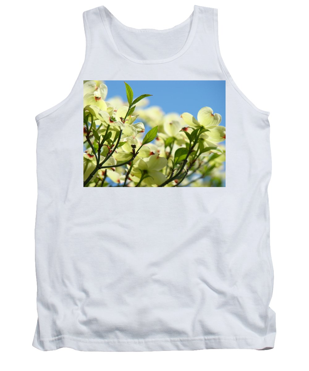 Dogwood Tank Top featuring the photograph Dogwood Flowers Art Prints Canvas White Dogwood Tree Blue Sky by Baslee Troutman