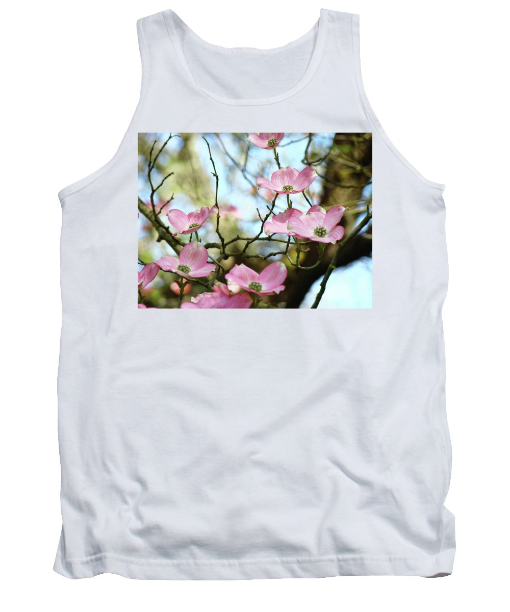 Dogwood Tank Top featuring the photograph Dogwood Flowers Pink Dogwood Tree Landscape 9 Giclee Art Prints Baslee Troutman by Baslee Troutman