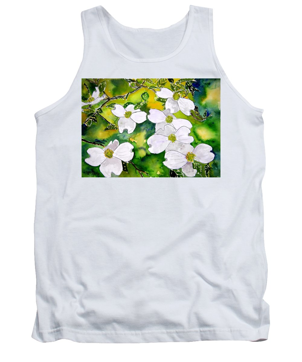 Dogwood Tank Top featuring the painting Dogwood Tree Flowers by Derek Mccrea