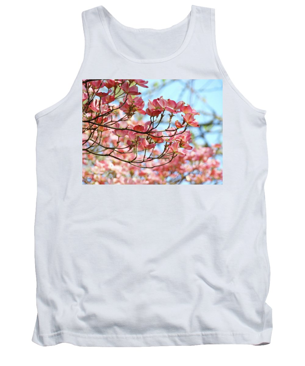 Dogwood Tank Top featuring the photograph Dogwood Tree Landscape Pink Dogwood Flowers Art by Baslee Troutman