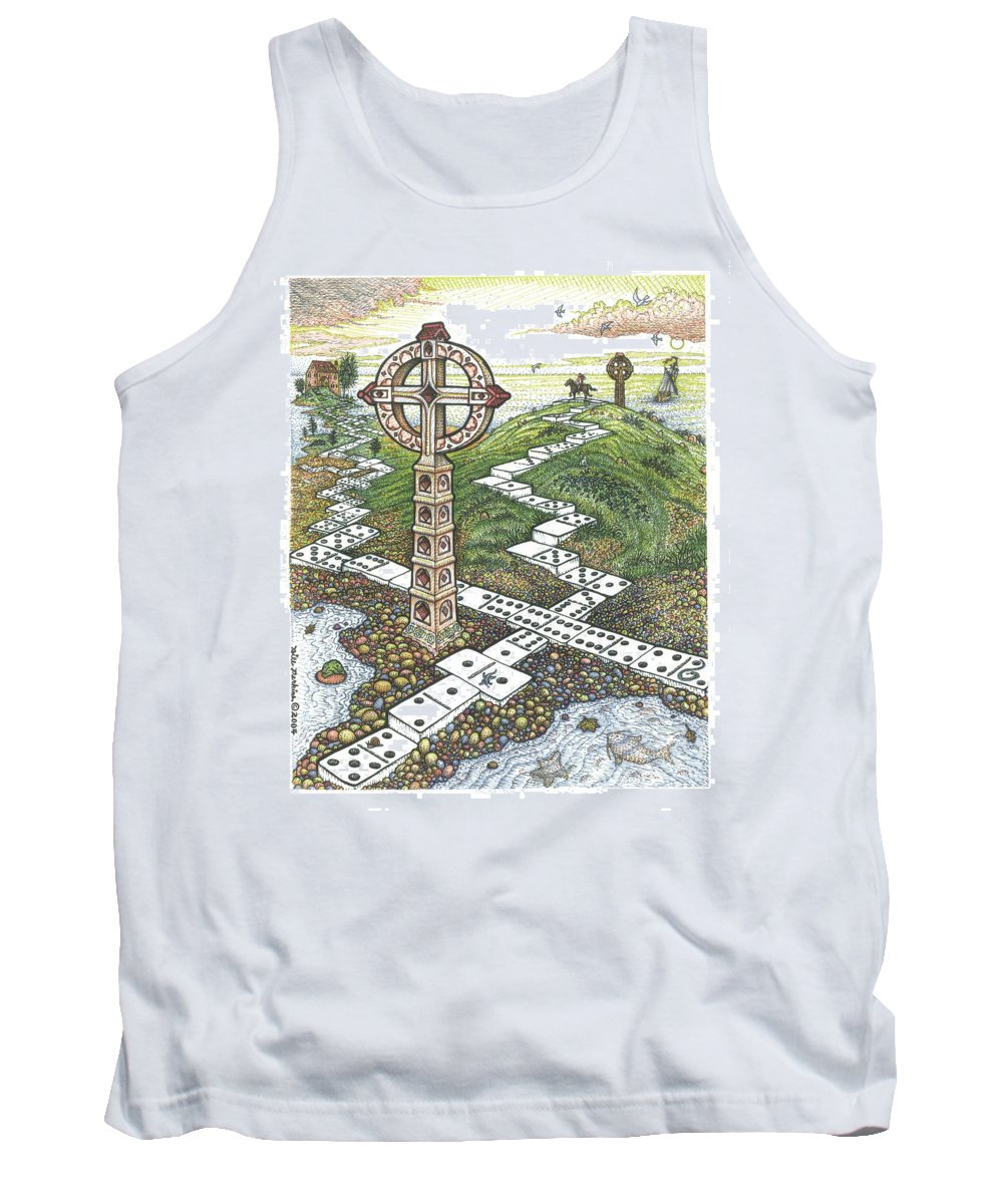 Landscape Tank Top featuring the drawing Domino Crosses by Bill Perkins