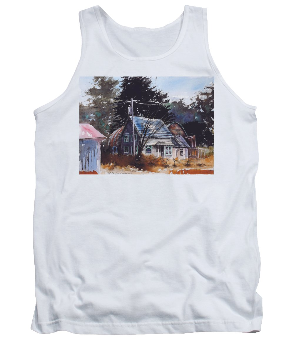 Old House Tank Top featuring the painting Down by the Swamp by Ron Morrison