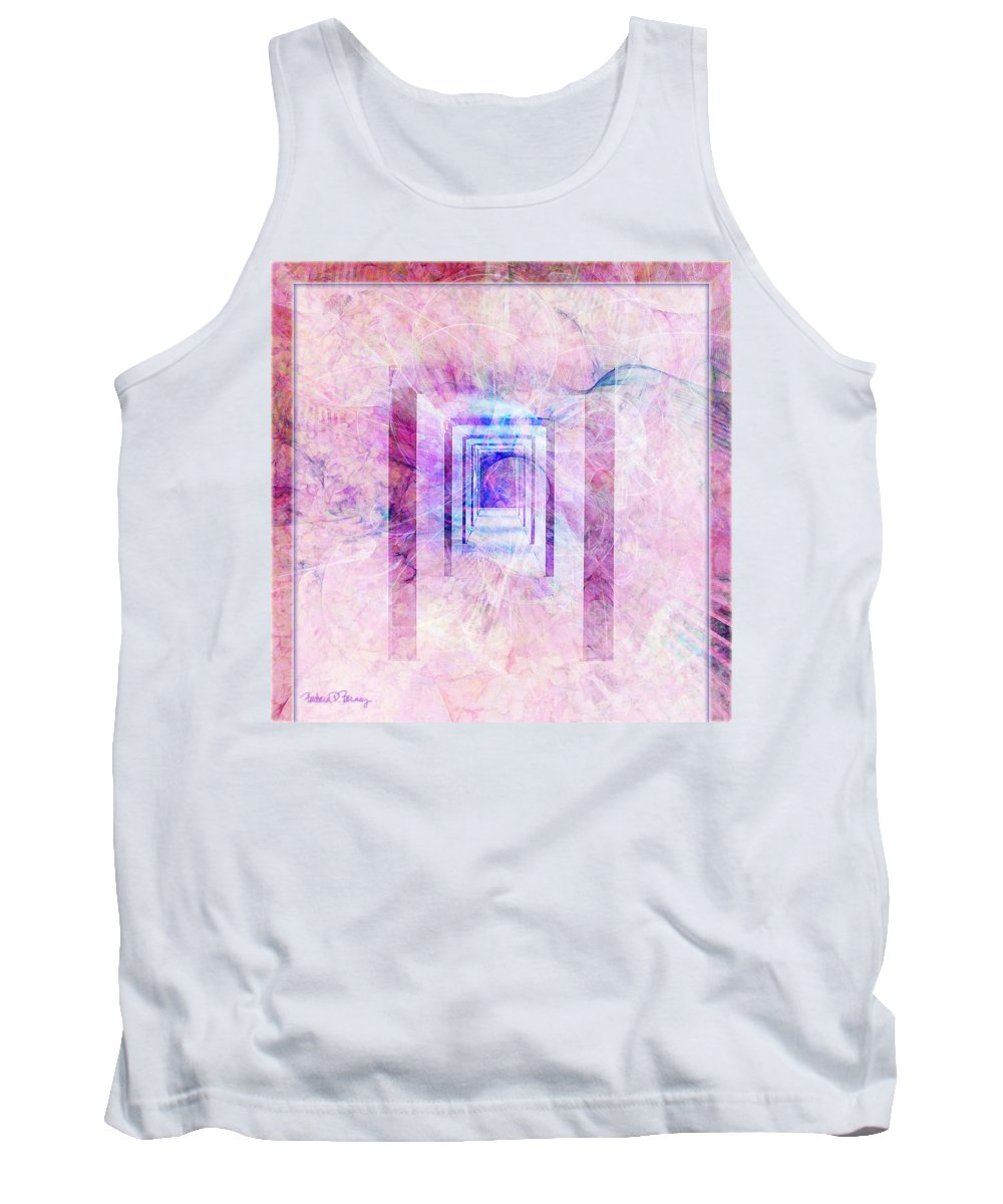 Pink Tank Top featuring the digital art Down The Hall by Barbara Berney