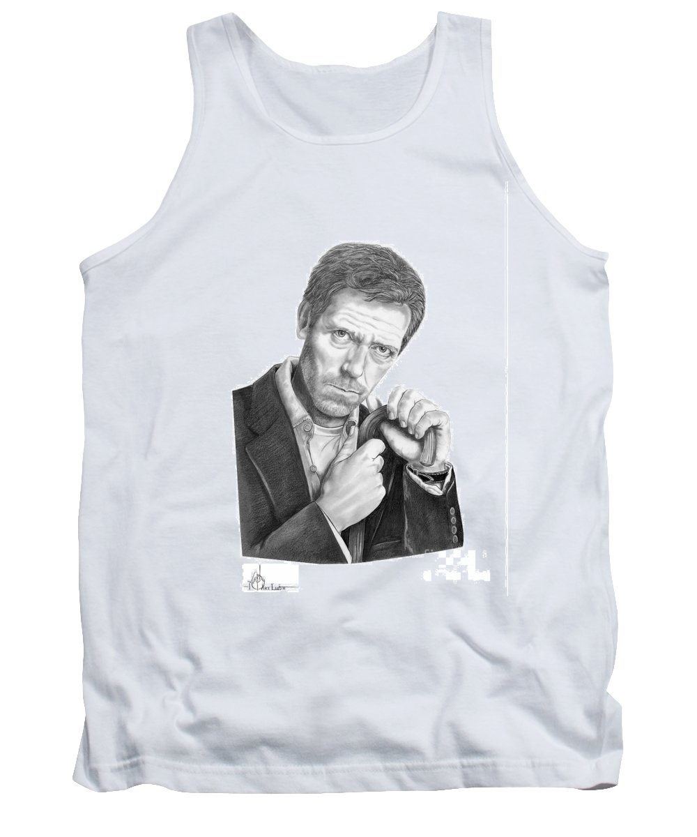 Drawing Tank Top featuring the drawing Dr. House Hugh Laurie by Murphy Elliott