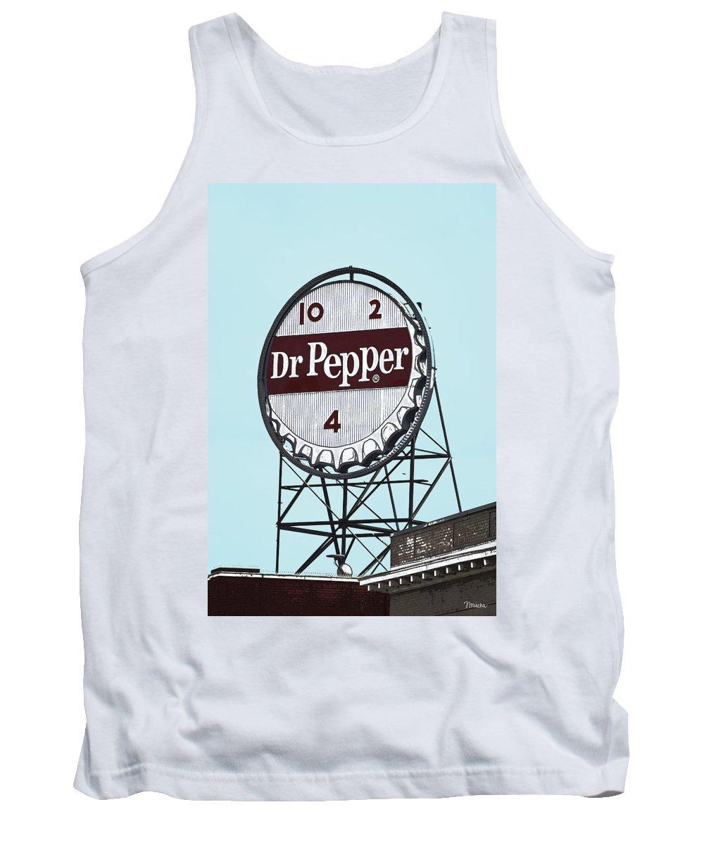 Dr Tank Top featuring the photograph Dr Pepper Landmark Sign Roanoke Virginia by Teresa Mucha