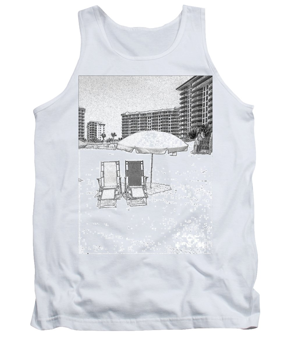 Black And White Tank Top featuring the photograph Drawing The Beach Chairs by Michelle Powell