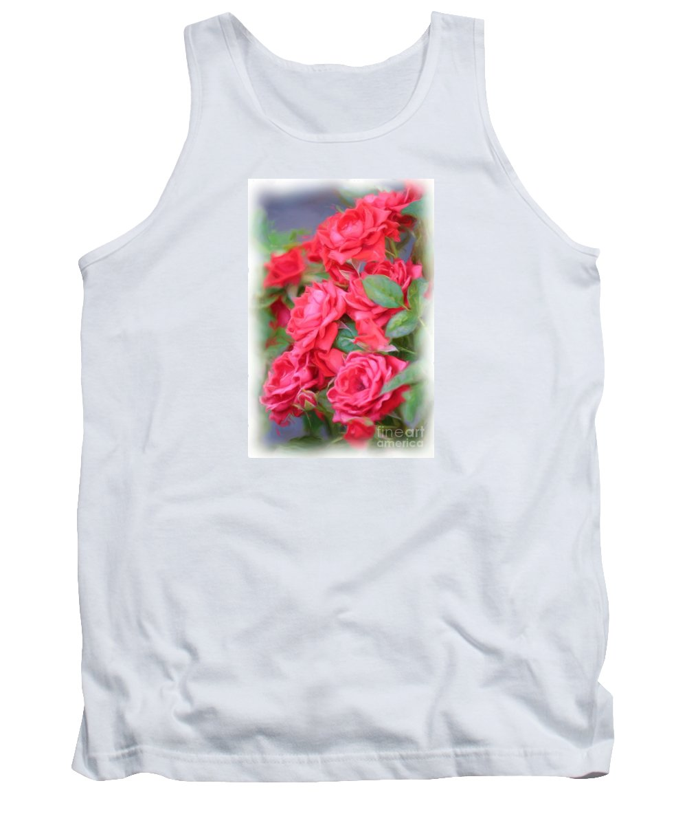 Floral Tank Top featuring the photograph Dreamy Red Roses - Digital Art by Carol Groenen