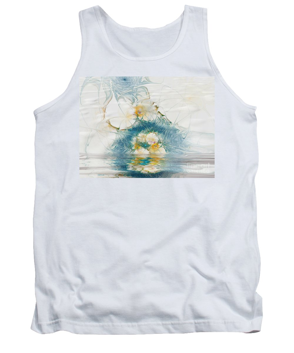 Fractal Tank Top featuring the digital art Dreamy World In Blue by Deborah Benoit
