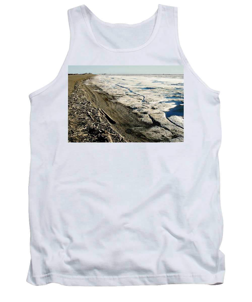 Drift Wood Tank Top featuring the photograph Driftwood On The Frozen Arctic Coast by Anthony Jones