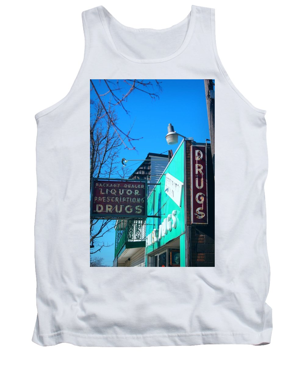 Drugs Teal Art Old Saginaw Tank Top featuring the photograph Drugs by Samuel Allar