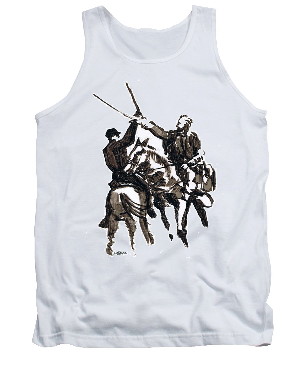 Civil War Tank Top featuring the drawing Dueling Sabres by Seth Weaver