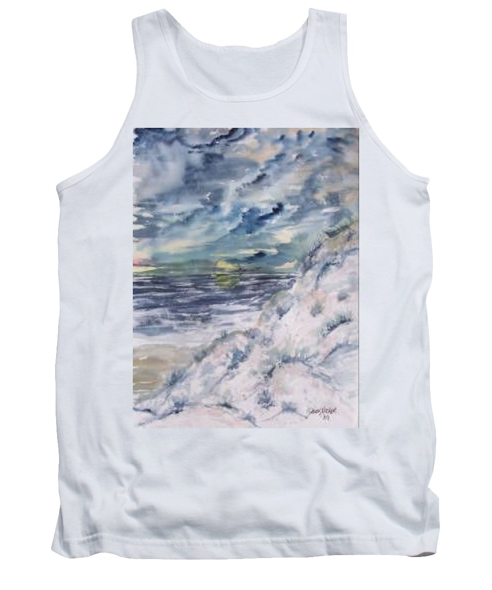 Seascape Tank Top featuring the painting Dunes 2 seascape painting poster print by Derek Mccrea