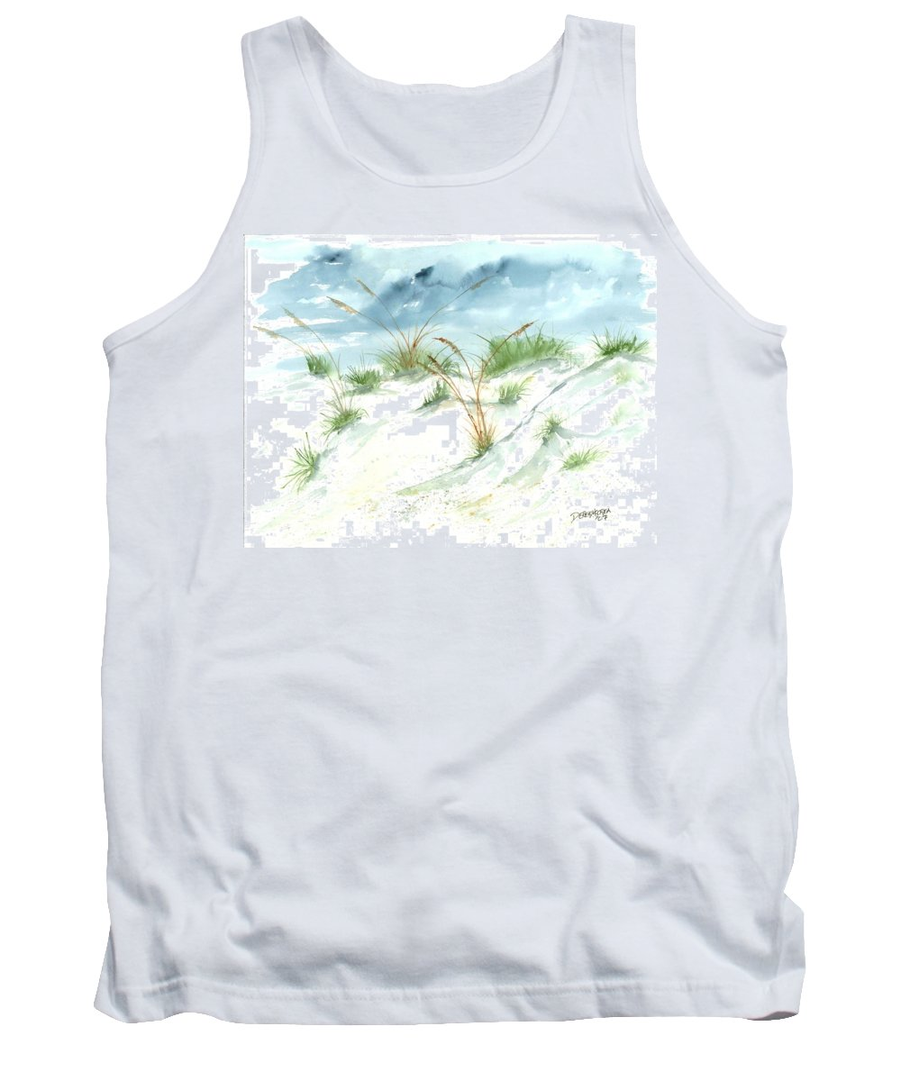 Beach Tank Top featuring the painting Dunes 3 Seascape Beach Painting Print by Derek Mccrea