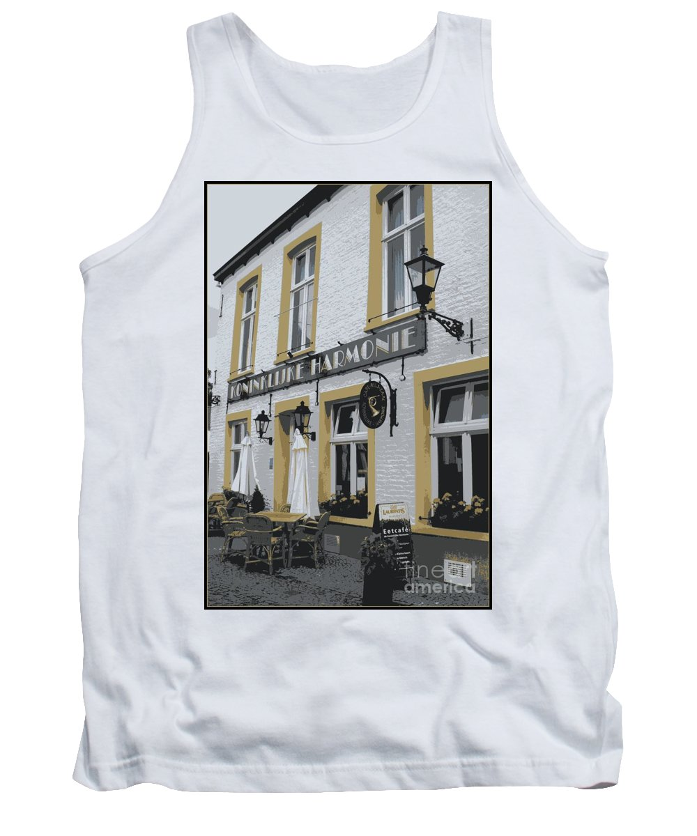 Gray And Yellow Tank Top featuring the photograph Dutch Cafe - Digital by Carol Groenen